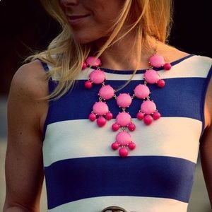 Coral and Gold Bobble Bead Statement Necklace